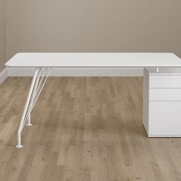 Home Office White Rectangular Desk with Drawer Cabinet