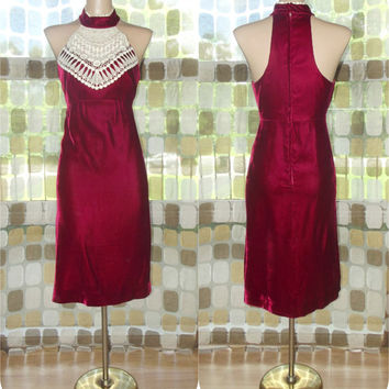 Vintage 60s 70s Crimson Red Velvet Halter Cocktail Dress Crochet Neckline Mini S/M
