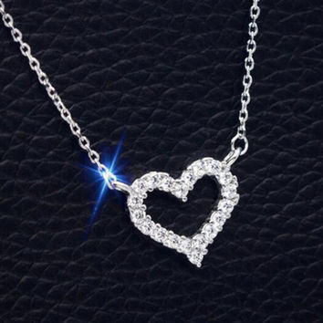 Womens Girls 925 Sterling Silver Necklace with Heart-shaped Crystal Christmas Gift 87