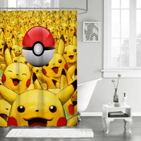 "New Design Cartoon Favorite Pokemon Pikachu Ball Custom Shower Curtain 66"" x 72"""