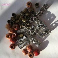 50Pcs Wooden Dreadlock Bead Hair Beads+50Pcs Brozen Beads+10Pcs Silver 7MM Hole Dreadlock Beads Adjustable Hair Braid Cuff Clip