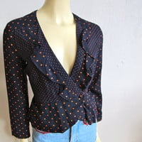 Spunky 1980s VINTAGE navy orange ruffled POLKA DOT blazer jacket San Francisco Md