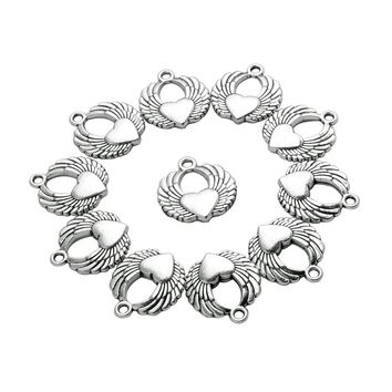 20 Pieces Angel Wings Heart Charms Reversible Findings Jewelry Pendants Necklaces Making 22 X 20mm