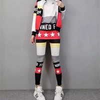 """Adidas"" Women Casual Multicolor Letter Star Print Cardigan Zip Short Sleeve Trousers Set Three-Piece Sportswear"