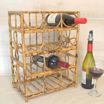 Retro Countertop Twelve Bottle Bamboo Wine Rack,  Tortoise Shell Rattan Wine Bottle Holder