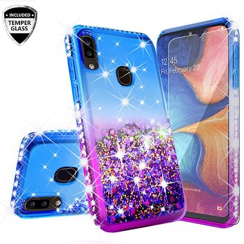 Samsung Galaxy A20 Case Liquid Glitter Phone Case Waterfall Floating Quicksand Bling Sparkle Cute Protective Girls Women Cover for Samsung Galaxy A20 W/Temper Glass- (Blue/Purple Gradient)