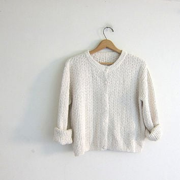 Vintage natural white knit sweater. Cropped cardigan sweater. Button up sweater.