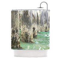 "Debbra Obertanec ""Saltwater Pylons"" Wooden Shower Curtain"