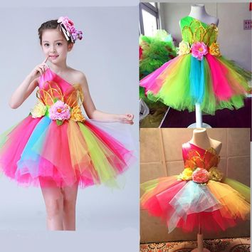 Colorful flowers standart salsa dance dress for girls Sexy modern dance costume for girls dance wear childrens kids competition