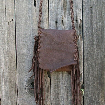 Fringed leather purse  Buckskin fringed handbag  Bohemian gypsy crossbody bag