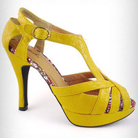 Helix Heeled Sandals in Mustard | PLASTICLAND