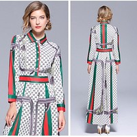 GUCCI New Popular Women Casual Print Long Sleeve Lapel Long Dress I13199-1