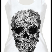 Womens Fashion Cult Flowers Skull Digital Print Tank Tops Gothic Steampunk T-shirts (Size: M, Color: Multicolor)