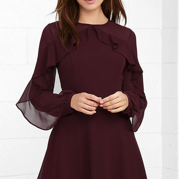 Quiet Grace Burgundy Long Sleeve Dress