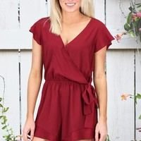 Ruffled Short Sleeve Surplice Romper {Garnet}