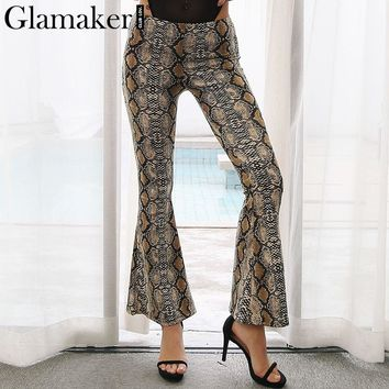 Glamaker High waist snake printed flared pants Women fashion bodycon slim casual pants capris Autumnfemale pants bottom 2017