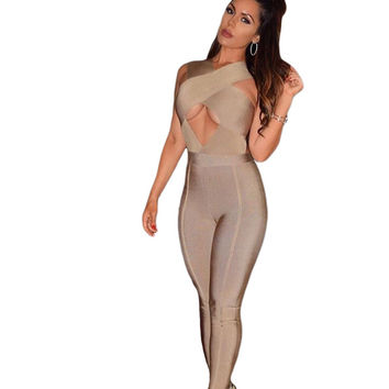 Sexy Night Club Rompers Overalls Women Khaki Grey Cross Bust Bandage Bodycon Jumpsuit 2016 Sexy Club Jumpsuits LC64113