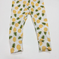 Pineapple tropical island yellow green cotton knit, baby leggings,unisex,boy,girl,toddler,photo prop,modern,knot beanie hat set