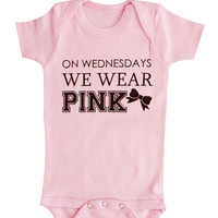 Mean Girls, On Wednesday We Wear pink Baby Clothes, Girl Clothes, Pink Bodysuit, Baby Gift, Wednesdays we wear pink, Baby Clothing