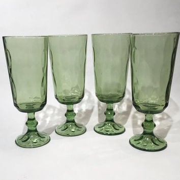 Hazel Atlas Lyric Green Parfait or Cocktail Glasses, Set of 4 of Hazel Atlas Green Pedestal Glasses, Mid-Century Modern Wine Glasses Barware