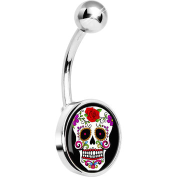 White Sugar Skull Belly Ring