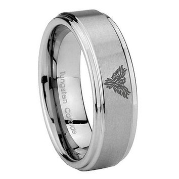 8MM Phoenix Step Edges Silver Tungsten Carbide Laser Engraved Ring