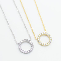 Circle eternity stone necklace