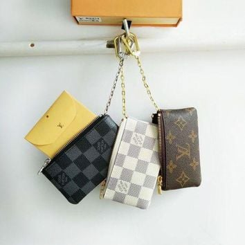 Lv Louis Vuitton Fashion Plaid Print Small Bag Change Purse Key Bag