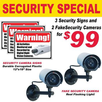 Security Special - 2 Fake Cameras & 3 Signs