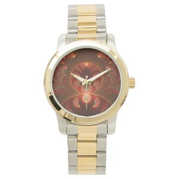 Luminous abstract modern orange red Fractal Wrist Watches