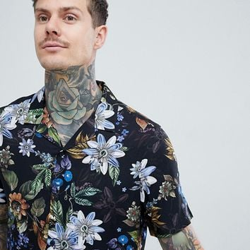 ASOS DESIGN regular fit floral shirt with revere collar in black at asos.com