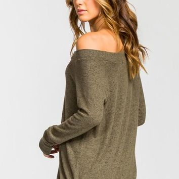Casual Fall Off Shoulder Top - Olive