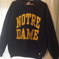 20% off Sale,Vintage Notre Dame Navy Blue Sweatshirt with Gold Letters,by Russell Athletic Men's XXL.