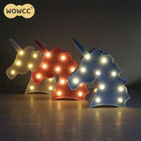 Unicorn Head Shaped Animal Light Table Lamp 3D Marquee Unicorn Sign Marquee Letter Night light Home Decoration Battery Operated