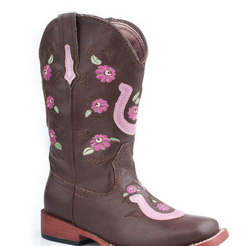 Roper Kids Boot Bling Sqtoe Faux Leather Sole Boots Floral Embroidery Horseshoe Overlay