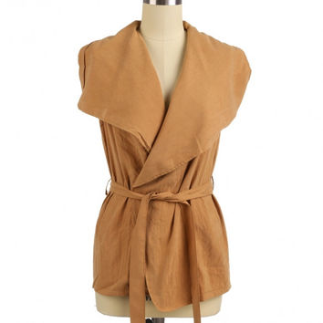 Mini Sleeveless Waterfall Coat