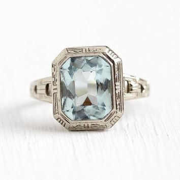 Vintage Aquamarine Ring - 14k White Gold Genuine Icy Light Blue March Birthstone - Size 5 1/2 Art Deco 1930s Filigree Geometric Fine Jewelry