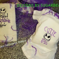 Jack Skellington CUSToM Onesuit or BuRP CLoTH Adorable UNiSEX BaBY Nursey Shower GiFT UNiQUE Designs by Sugarbear