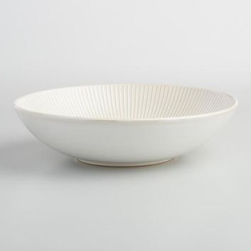 White Textured Stoneware Serving Bowl