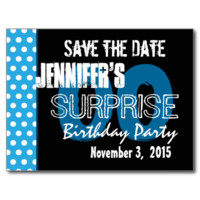 Modern Save the Date Surprise Any Year Blue Dots Post Cards
