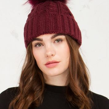 Knit Furball Beanie in Grey, Navy, Black and Burgundy