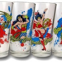DC Comics Wonder Woman 4-Pack Poses Glass Gift Drink Set:Amazon:Kitchen & Dining