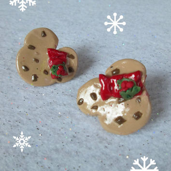 Minnie Mouse Chocolate Chip Cookie Shaped Glitter Disney Mickey Stud Disneyland Food Inpired Christmas Bow Red Holly Berry Earrings