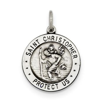 Sterling Silver St. Christopher Football Medal