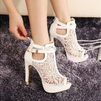 New Lace Women Platform Pums Sandals White Mesh Black High Heels Peep Toe Shoes [7981347463]