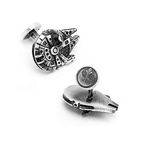 Star Wars Millennium Falcon 3D Cuff Links - Antique Silver Tone