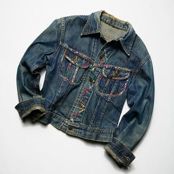 Free People Vintage 1980s Embroidered Denim Jacket