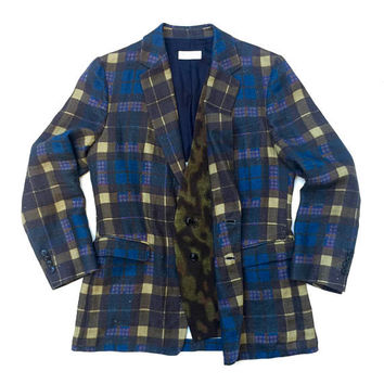 DRIES VAN NOTEN!!! Super smart 'Dries van Noten' men's single breasted linen jacket with all over plaid print and camouflage feature lapel