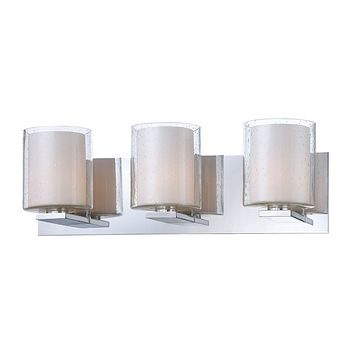 Combo 3-Light Vanity Lamp in Chrome with Clear Stromboli and White Opal Glass