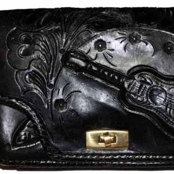 Vintage Purse Hand Tooled Black Leather  W/ Guitar 1970S VLV Retro Rockabilly